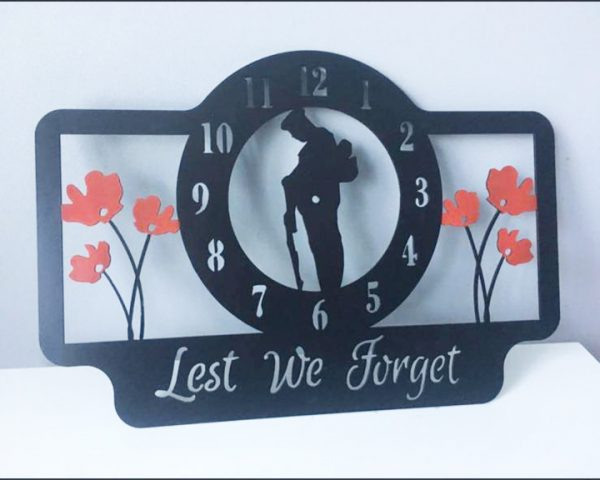 Lest We Forget Metal Wall Clock