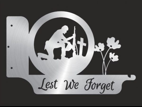 Kneeling Soldier, Lest We Forget Wall Hanging Bracket